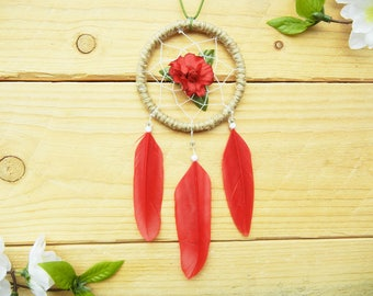 Crimson Rose Dreamcatcher: Car Accessories Rear View Mirror, Gift for Granddaughter, Classy Car Decor, Cute Car Decor, Red Car Accessories