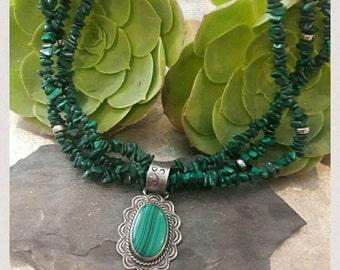 Vintage Navajo Sterling Malachite Stone Necklace