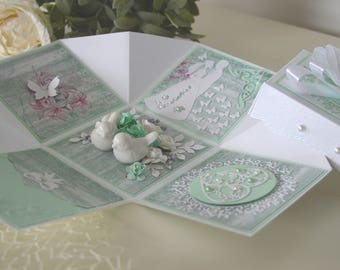 Wedding explosion box card, Wedding gift box, Wedding exploding box card, 3D wedding card, Wedding card in a box, Gifts for newlyweds