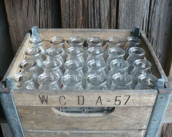 Vintage Milk Crate, Wood and Metal Milk Crate with 24 Glass Half Pint Milk Bottles, Dairy Crate, Dairy Glass