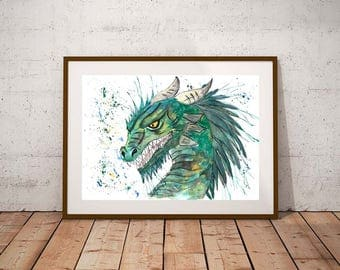 Giclee print, dragon watercolour PRINT,  dragon, watercolour painting, dragon gift, fantasy art, mythical art
