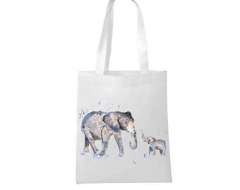 Elephant bag, personalised tote bag, white bag, shopping bag, elephant gift, elephant lover, elephant baby