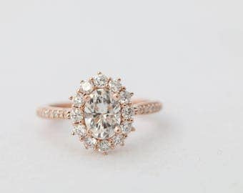 Oval Halo Engagement Ring, Halo Engagement Ring, Rose Gold Engagement Ring, Oval Moissanite Ring, Diamond Ring, Engagement Ring, Diamonds