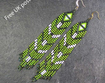 Sparkly Green, White & Black Beaded Fringe Earrings, Pierced Long Dangle Drop, Art Deco / Native American, Free UK Postage