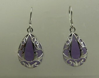 Lavender Jade Dangle Earring with Sterling Silver Setting