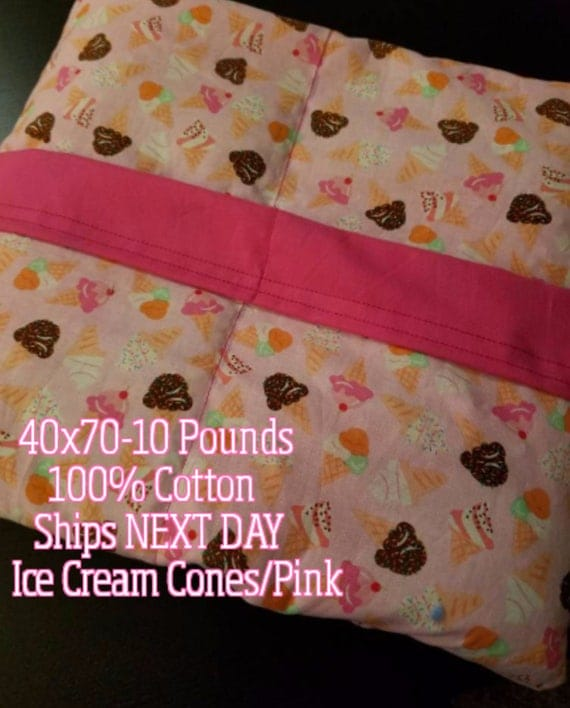 Weighted Blanket, 10 Pound, Ice Cream Cones, 40x70, READY TO SHIP, Twin Size, Adult Weighted Blanket, Next Business Day To Ship