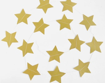 Star Paper Garland/12 ft/Stitched Sewn/Gold Star Decorations/Star Garland Bunting/