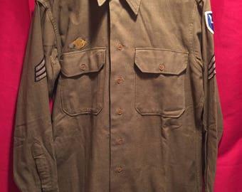 WW2 U.S Army Wool Shirt W/Insignia