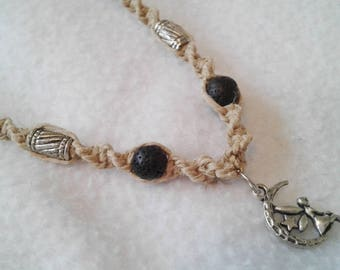 Moon Fairy Hemp Necklace w. Black Lava Beads - Natural Hemp Choker - Diffuser Necklace - Aromatherapy