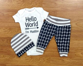 Baby Boy Coming Home Hello World Anchor Outfit, bodysuit hat pants, sailor, navy, nautical, shower gift, going home, coastal, newborn photos