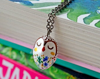 Ceramic Owl Necklace, Miniature Bird Jewelry, Ceramic Bird Necklace, Unique Animal Lover Gift, Owl Necklace, Tiny Ceramic Animal, Tiny Art