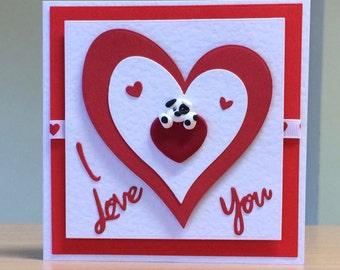 Valentine Card - Cute Dog / Puppy Valentine Card - Valentine Card For Husband / Wife/ Girlfriend/ Boyfriend/ One I Love - Handmade Valentine