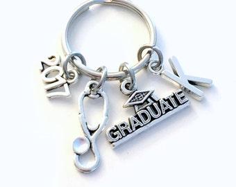 Graduation Present for Medical Profession KeyChain, Stethoscope Key Chain, Grad Keyring Jewelry 2017 Initial Birthstone him her men Graduate