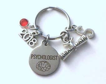 Graduation Gift for Psychologist Keychain, 2017 2018 Psych Student Psychology Grad Key Chain Doctor Keyring Graduate initial letter him her