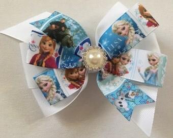 Frozen Hair Bow Disney Hair Bow Elsa Bow Elsa and Anna Bow Olaf Bow Frozen Character Bow Frozen Bow with Pearl Rhinestone Center