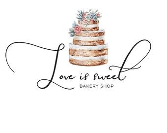 Premade logo, elegant logo, bakery logo, cake logo, wedding logo, custom shop logo