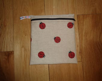 Snack Bag - Bikini Bag - Lunch Bag  - Zero Waste Medium Poppins Waterproof Lined Zip Pouch - Sandwich bag - Eco - Linen Look Ladybird