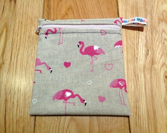 Sandwich Baggie Waterproof Lined Zip Pouch - Sandwich bag - Snack Bag - Bikini Bag - Lunch Bag Make Up Bag Flamingo Linen Small  Poppins