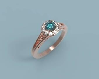 Rose Gold Alexandrite Halo Engagement Ring Alexandrite Ring Rose Gold Alexandrite Diamond Ring Alexandrite Ring