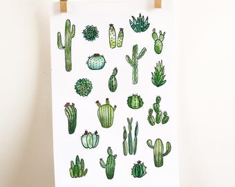 cactus planner stickers watercolor cactus stickers succulent stickers botanical stickers green stickers bullet journal stickers