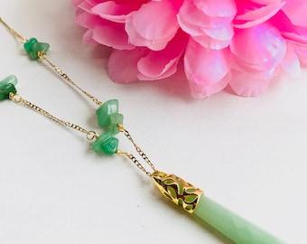Pendulum necklace,natural stones necklace, necklace chips, aventurine, pendant pendant necklace, aventurine pendant,long aventurine necklace