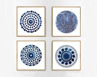 Blue Abstract art Prints Watercolor Paintings Circles Indigo Blue Navy Wall art Minimalist art Boho Decor Coastal Printable Geometric Dots
