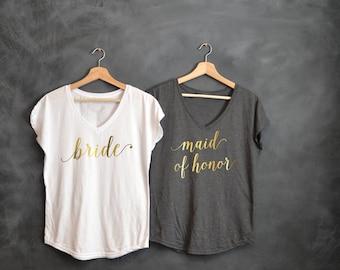 Bride shirt, Maid of Honor shirts, Gold V-neck, Bachelorette party shirts, Wedding day, Bridal Party, Matron of Honor shirt, MOH, Bridesmaid