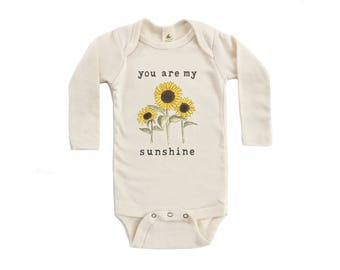 "Organic ""You Are My Sunshine"" Long Sleeved Unbleached Snappie / Bodysuit"