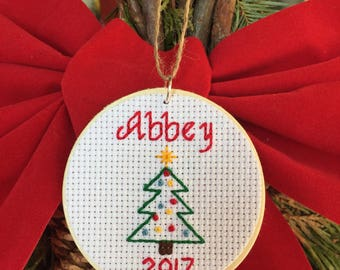 Personalized Ornament, Custom Ornament, Ornament with Name and Date, Christmas Ornament, Cross Stitch Ornament, Wood and Flannel Ornament