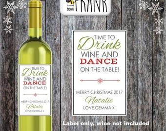 Funny/cute/rude,banter PERSONALISED CHRISTMAS Xmas Wine Label.Best Friend, BFF