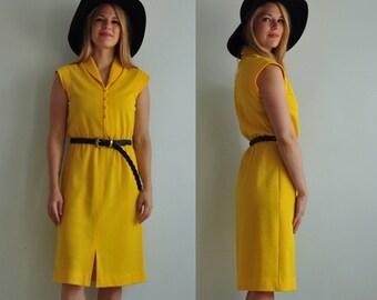 70s Buttercup Yellow Knit Shirt Dress // Small // Butte Brand // Midi // 1970s