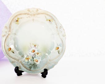 Carl Tielsch, antique small cabinetplate, lovely pale colored porcelain embossed base, decorated with Goldcolor Ribbons and Daisies, 1930s