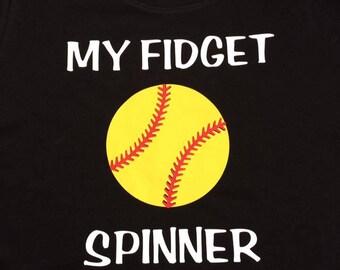 Softball My fidget spinner tee