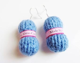 Earrings in the shape of blue yarn (free personalization))