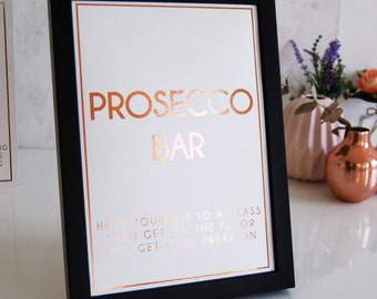 Rose Gold Wedding Sign,Copper Wedding Sign,Prosecco Bar Sign,Personalised Wedding Sign,Bespoke Wedding Sign,Wedding Sign for Prosecco Bar