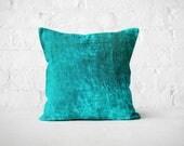 New Home Owner Gift   Blue Window Seat Pillow   Turquoise Velvet Throw Pillow   Plush Reversible Pillow