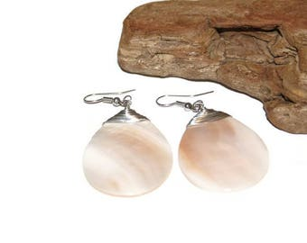 Silver Wire Wrapped Shell Earrings, Sea Shell Earrings, Shell Jewelry, Beach Earrings, Beach Bum, Surfer Earrings, Large Shell Earrings