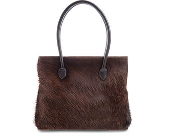Brown Cowhide Bag | Brown Suede Bag | Hide Bag | Hair on Hide Bag