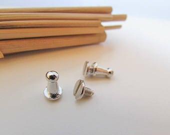 bronze 5 button rivet bag in silver color clasp - 9 x 6 mm - 12.9