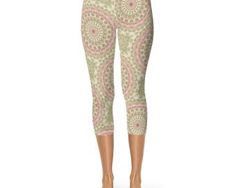 Capris Leggings for Women, Abstract Floral Leggings, Rose Pink and Olive Green Victorian Inspired Mandala Pattern Yoga Pants