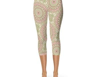 Capris Leggings for Women - Abstract Floral Leggings, Rose Pink and Olive Green Victorian Inspired Mandala Pattern Yoga Pants
