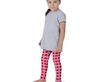 Girls Valentine's Leggings, Mermaid Leggings, Children's Yoga Pants, Red and Pink Scale Leggings for Kids
