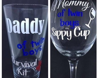 Mommy and Daddy Drinking Glasses