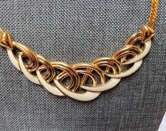 Vintage Trifari TM Gold Tone White Enamel Necklace