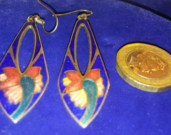 art nouveau,liberty vintage style  enamelled cobalt blue,iris flower earrings FREE INT SHIPPING