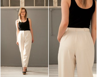 Vintage 90s High Waisted Pants 80s Mom Pants Pastel Baggy Pants Womens Small Off White Trousers High Rise Waist 30 Tapered Ivory Pants W30 S