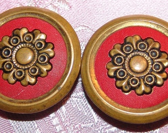 "Lovely Antique Brass Button ~ 1 1/8"" ~ Red Celluloid Liner ~ Steel Back"