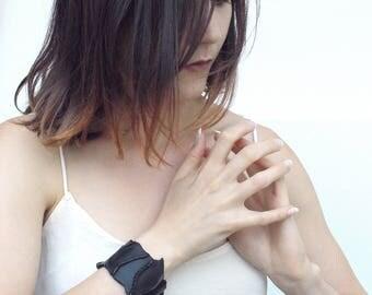 Black Leather Bracelet Bangle for women / .CIME. black