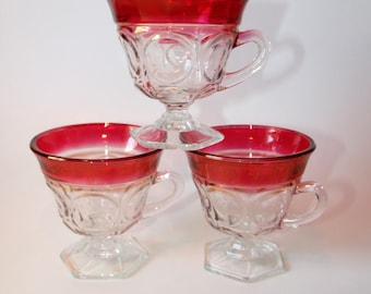 3 Large Thumbprint Ruby Red / Cranberry Flashed Cups w/ Hexagon Foot ~ Stemmed Mugs ~ Ashburton Kings Crown Window Heavy Glass