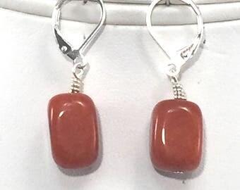 Dark orange agate bead earrings